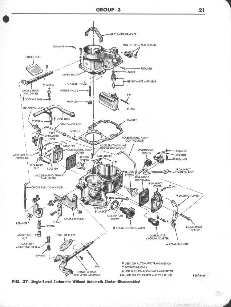 1963 Manual Choke Ford carburetor exploded view; Falcon Shop Manual Supplement pg 21