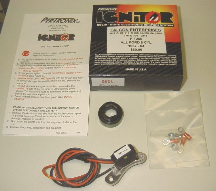 pertronix electronic ignition installation for ford falcon six pagepertronix 1266 kit contents