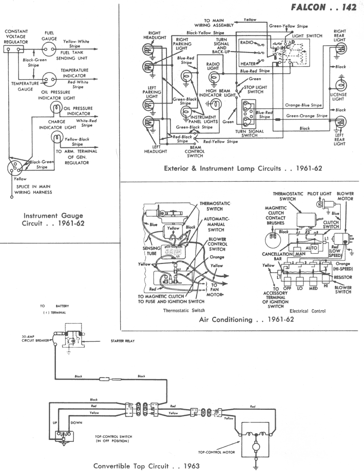 '6162 Instrument Gauge Ac Lights '63 Convertible ': 1964 Ford Falcon Wiring Diagram Instrument At Gundyle.co
